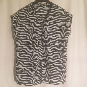 2/$30Michael Kors zebra zipper top blouse